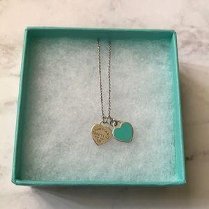 Tiffany & Co double mini heart tag necklace